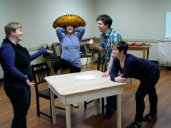 Five Course Love director Krista Hansen works with cast members Amy Malouf, Greg Foster and Amanda Bloom.